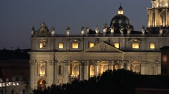 San Pietro basilica Vatican city monument building details sculpture at night 4K Stock Footage