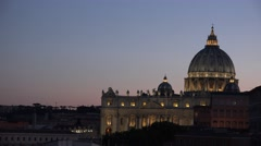 Great iconic Vatican city at twilight Saint Peter basilica monument illuminated Stock Footage