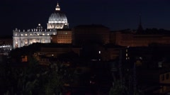 Vatican Rome city by night Saint Peter church facade illuminated pope place 4K - stock footage
