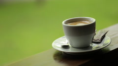 Cup of Coffee at the park Stock Footage