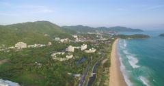 Aerial Pan Shot of Karon Beach in Phuket Thailand Stock Footage