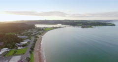 Aerial of Paihia and waitangi, Northland, New Zealand Stock Footage