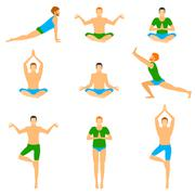 Set with a handsome man in various poses of yoga Stock Illustration