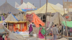 Tent camp for pilgrims,Allahabad,Kumbh Mela,India Stock Footage