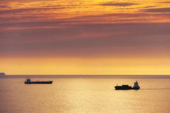Cargo ship and petroleum tanker at sunset Stock Photos