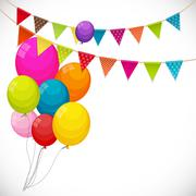 Color Glossy Happy Birthday Balloons Banner Background with Part Stock Illustration