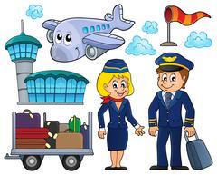 Aviation thematic set - eps10 vector illustration. Stock Illustration