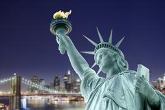 Photo montage, compositing, Statue of Liberty, Liberty Island, B - stock photo