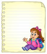 Notebook page with schoolgirl - eps10 vector illustration. - stock illustration
