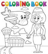 Coloring book aviation theme - eps10 vector illustration. Stock Illustration