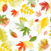 Shiny Autumn Natural Leaves Seamless Pattern Background. Vector Stock Illustration