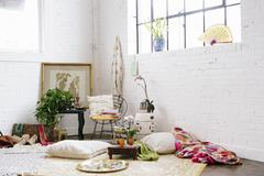 A light airy room with whitewashed walls Stock Photos