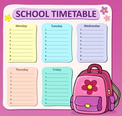 Weekly school timetable composition - eps10 vector illustration. - stock illustration