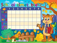 School timetable with cat - eps10 vector illustration. - stock illustration