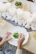 Table setting with candles Stock Photos
