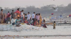 Pilgrims bathing at Sangam,Allahabad,Kumbh Mela,India Stock Footage