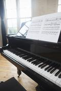 Sheet music on a Grand Piano in a rehearsal studio. Kuvituskuvat