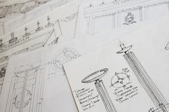 Design drawings in a workshop Stock Photos