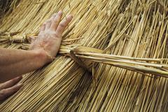 Man thatching a roof, fastening a bundle of straw Stock Photos