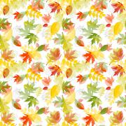 Shiny Autumn Natural Leaves Seamless Pattern Background. Vector Illustration Stock Illustration