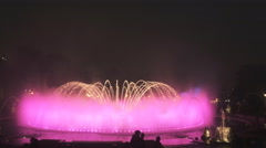 Magic fountain with pink lighting changing to orange in lima Stock Footage