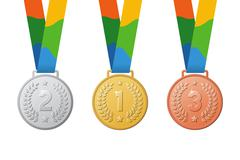 Gold, silver, bronze medals. Brazil colors ribbon. First, second, third place Stock Illustration