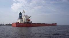 Huge bulk carrier ship Stock Footage