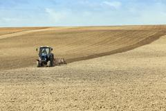 Plowed land for cereal Stock Photos
