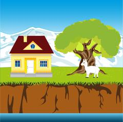 House ashore calm yard - stock illustration