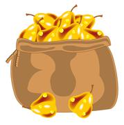 Yellow pear in bag - stock illustration