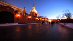 Panoramic view of the wall of the beautifully decorated Kremlin Stock Footage