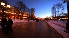 View of walking street between the Moscow Kremlin and Aleksandrovsky park. Stock Footage