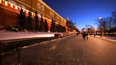 Pedestrian street near the Moscow Kremlin and the Eternal Flame. Winter night. Stock Footage