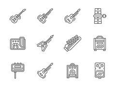 Guitars black line vector icons set - stock illustration