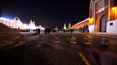 People walk near the Moscow Kremlin, going towards to the Red Square Stock Footage