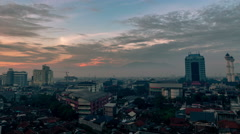 Aerial view Dawn in the city of Bandung. 4K Timelapse - Bandung, West Java Stock Footage