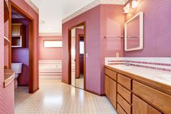 Luxury pink bathroom interior design with modern washbasin cabinet, tile floo Stock Photos