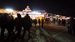 Christmas fair on the Red Square. Beautiful bright decorations. People walk Stock Footage
