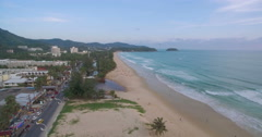 Aerial Approach Drone Shot of Karon Beach in Phuket Thailand Stock Footage