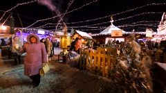 Huge samovar on decorated Christmas fair on the Red Square Stock Footage
