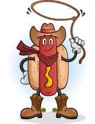 Hot Dog Cowboy Cartoon Character Stock Illustration