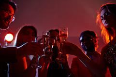 Champagne cheers Stock Photos