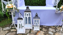 Wedding decoration with table and white arch Stock Footage