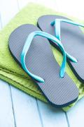 Blue flip flops. Stock Photos