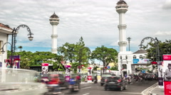 Heavy traffic of cars in the beautiful center of Bandung. 4K Timelapse - Bandung Stock Footage