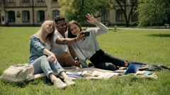 Students making selfies on the phone on lawn. Stock Footage