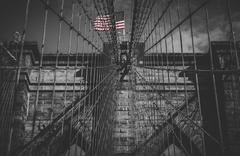 A monochrome version of the Brooklyn Bridge Stock Photos