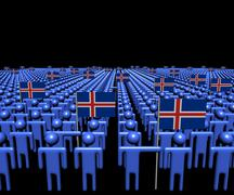 Crowd of abstract people with many Iceland flags illustration - stock illustration