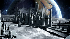 city on moon. Realistic animation. The space view of the planet earth. zoom fly Stock Footage