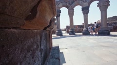 4Slow slider in ancient ruins of Zvarnots cathedral in Armenia Stock Footage